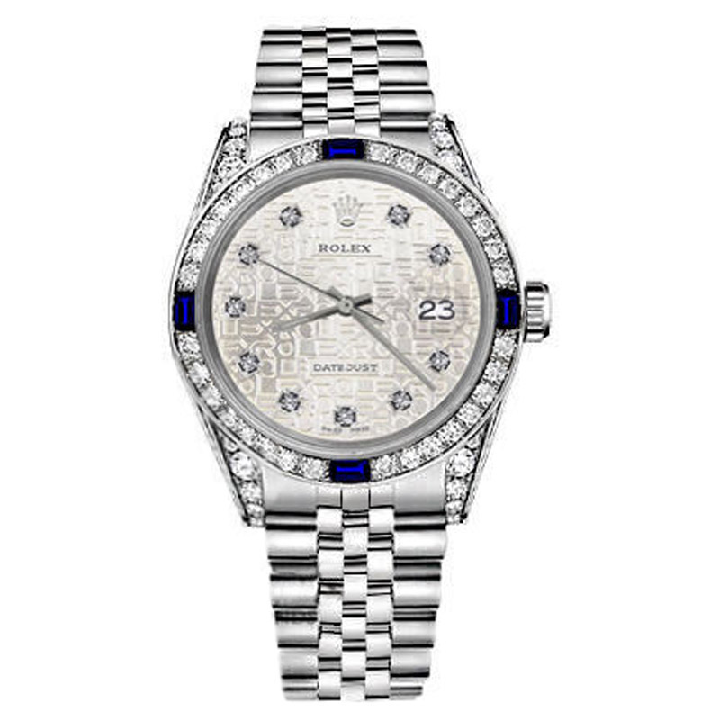 "Image of ""Rolex Datejust Silver Jubilee Metal Plate Dial Sapphire & Diamond 26mm"""