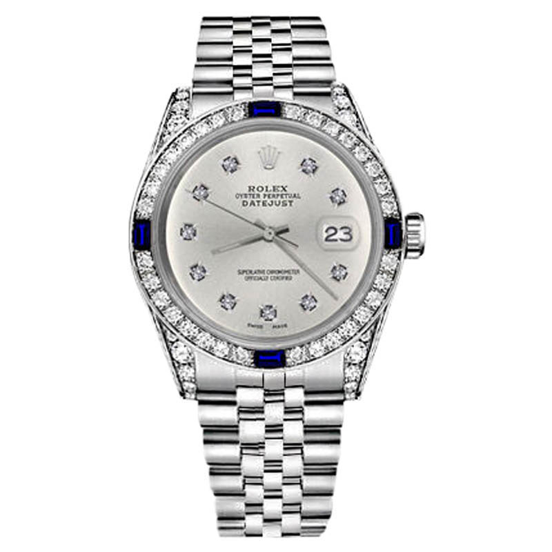 "Image of ""Rolex Datejust Silver Color Dial With Sapphire &10 Round Diamond 36mm"""