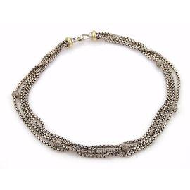 David Yurman 925 Sterling Silver & 18K Yellow Gold Diamonds Multi-Strand Box Chain Necklace