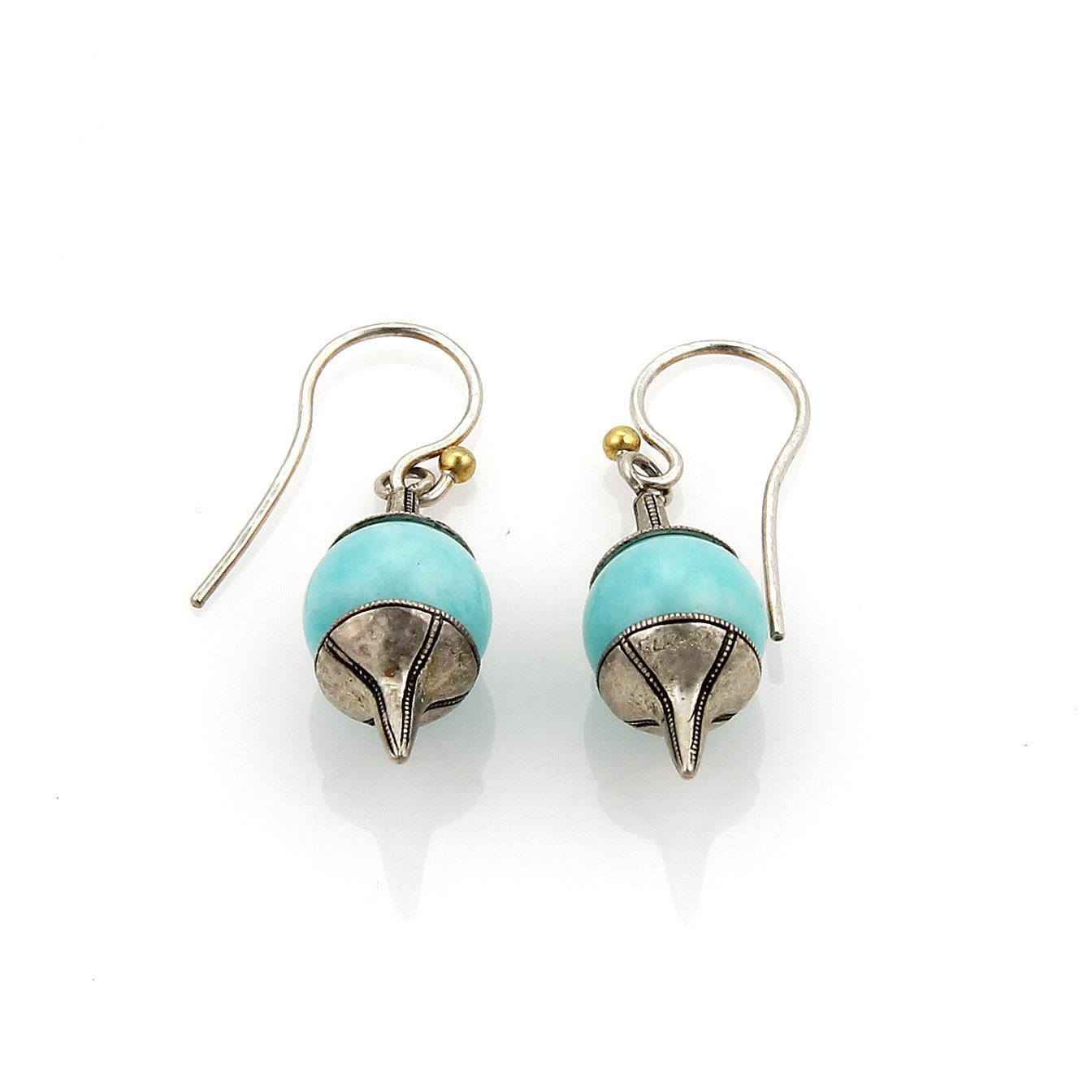 """Image of """"Gurhan Gatsby Amazonite & Sterling Silver Spin Top Style Hook Earrings"""""""