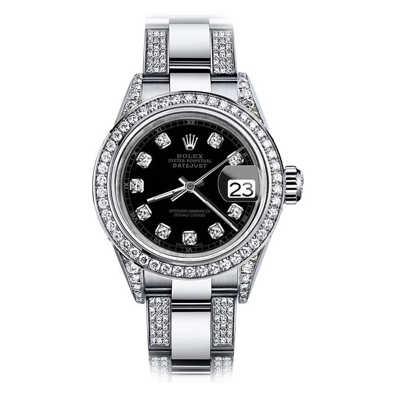"Image of ""Rolex Oyster Perpetual Datejust Stainless Steel Custom Diamond 26mm"""