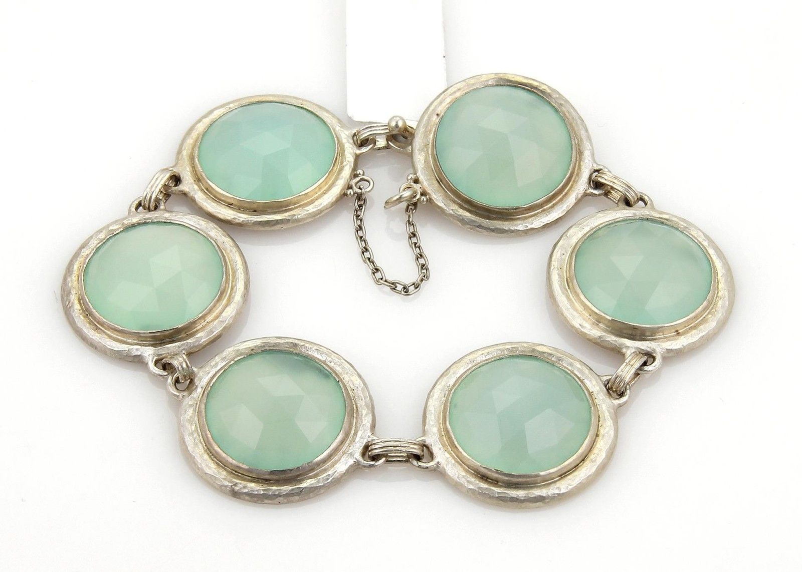 "Image of ""Gurhan Sterling Silver Gumdrop Aqua Chalcedony 6 Round Link Bracelet -"""
