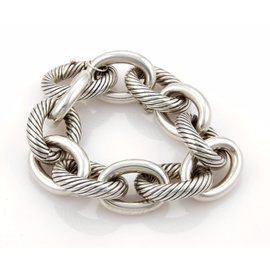 David Yurman Sterling Silver Extra Large Cable Wire Oval Link Bracelet
