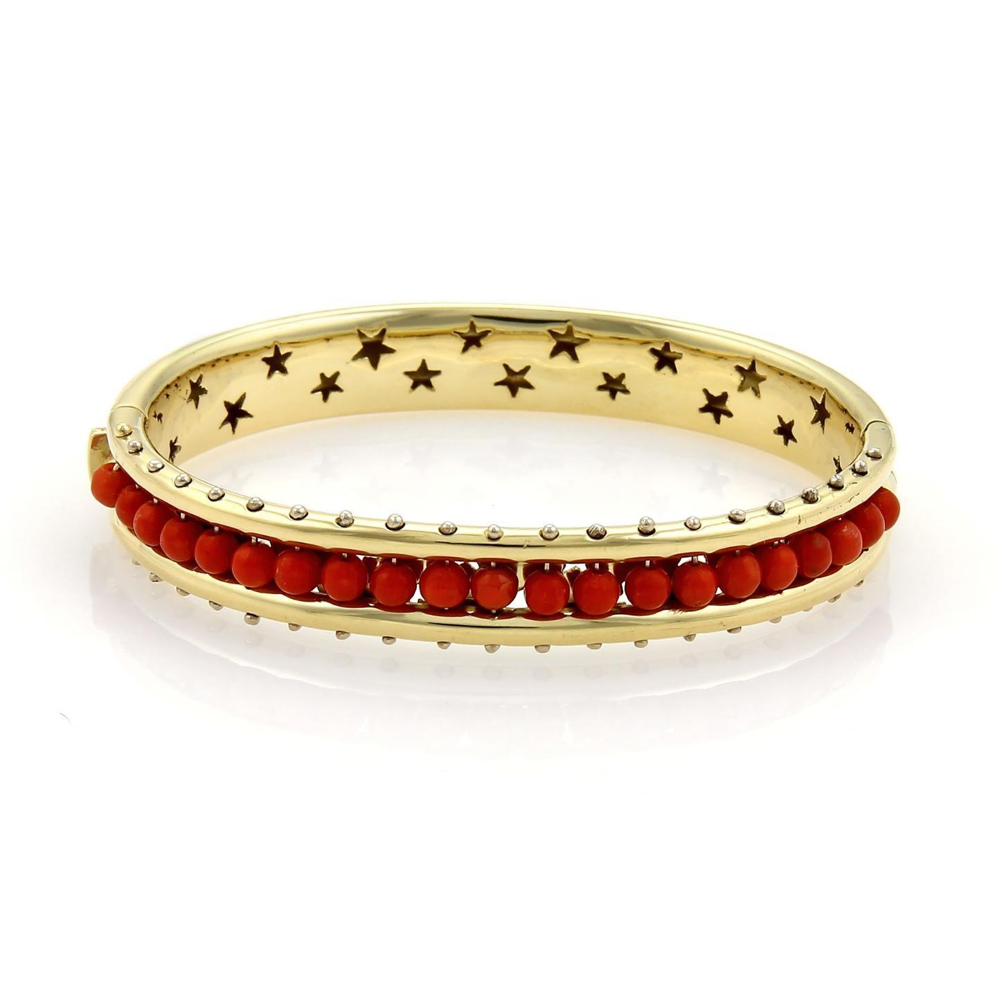 "Image of ""H. Stern 18K Yellow Gold & Coral Bead Fancy Wide Bangle Bracelet"""