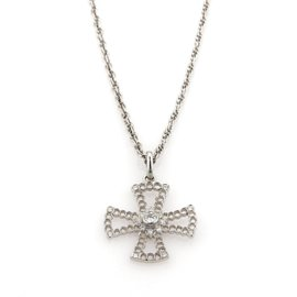 Buccellatti 18K White Gold & Diamond Cross Pendant Necklace