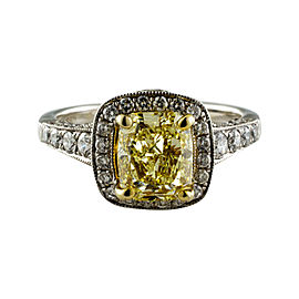 14K White Gold 2.00ct Yellow Diamond Pave Halo Engagement Ring Sz 6.5