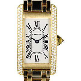 Cartier Tank Americaine 1710 18K Yellow Gold With Diamond Bezel Womens Watch