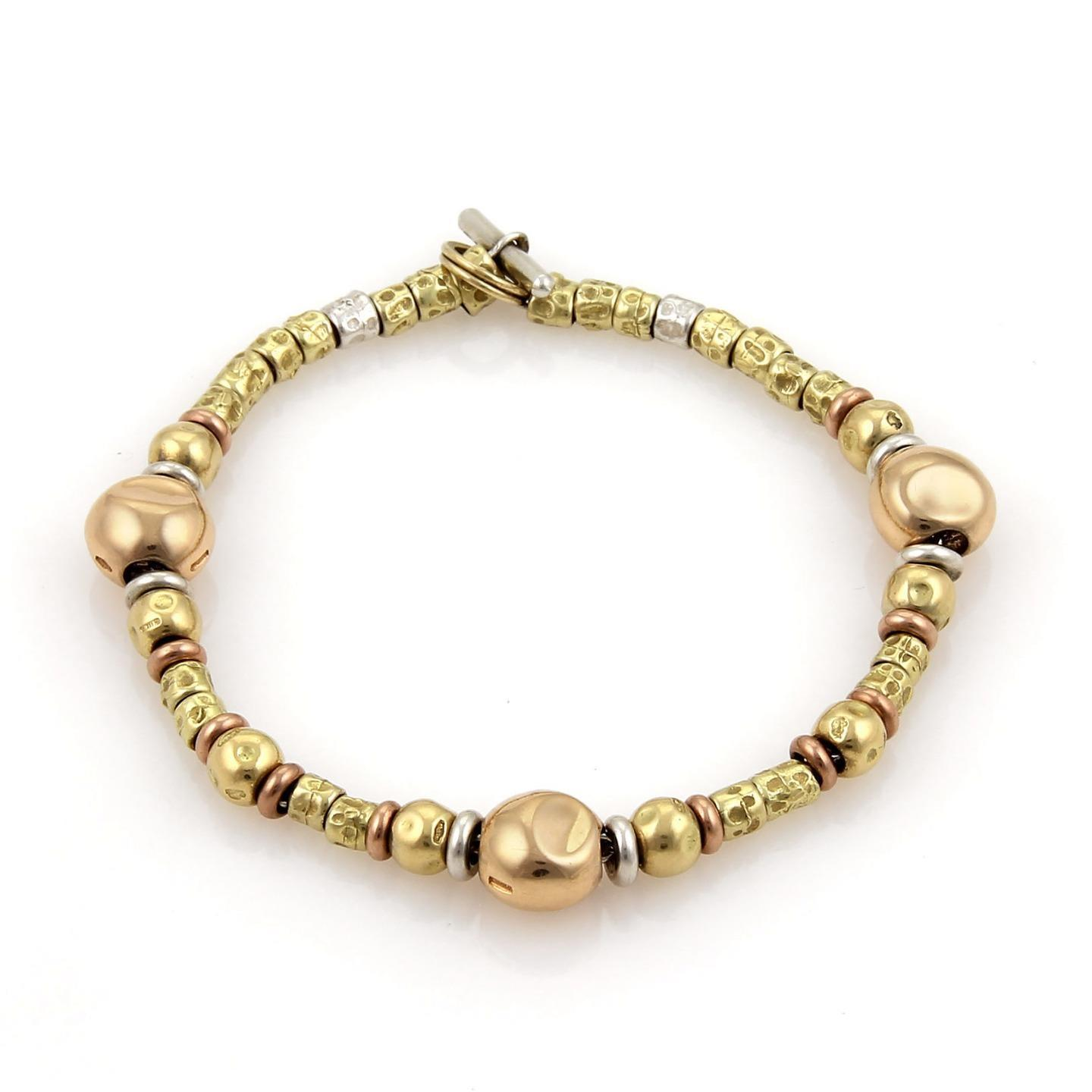 "Image of ""DoDo Pomellato 18K Yellow & Rose Gold & Sterling Silver Nugget Bead"""