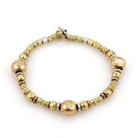 DoDo Pomellato 18K Yellow & Rose Gold & Sterling Silver Nugget Bead Bracelet