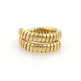 Bulgari 18K Yellow Gold Tubogas Flexible Bypass Ring Size Large