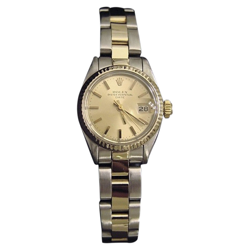 """Image of """"Rolex Date 6917 Two Tone 14K Yellow Gold & Steel With Oyster Champagne"""""""