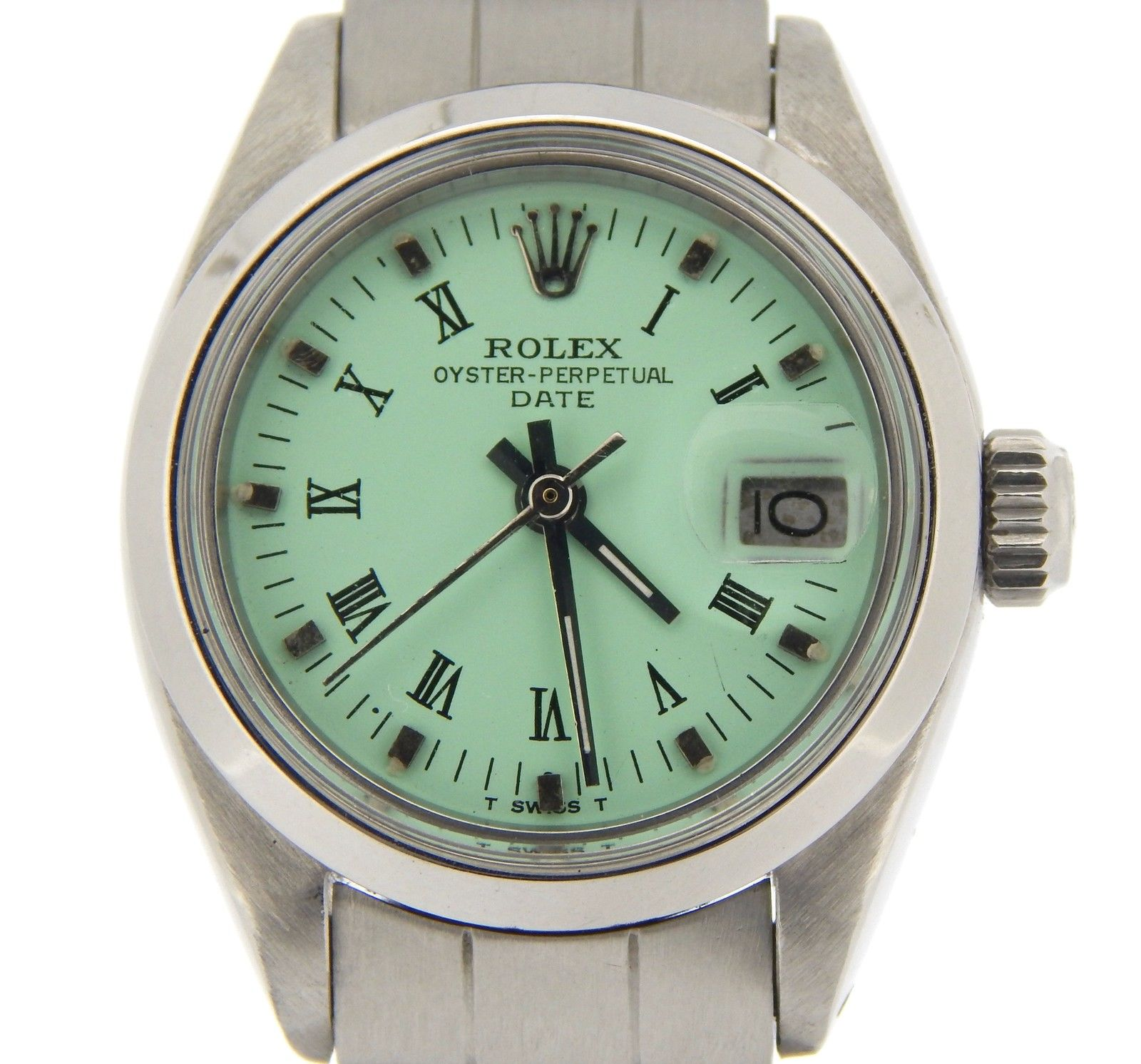 """""""""""Rolex Date 6916 Stainless Steel With Oyster Bracelet Green Roman Dial"""""""""""" 837616"""