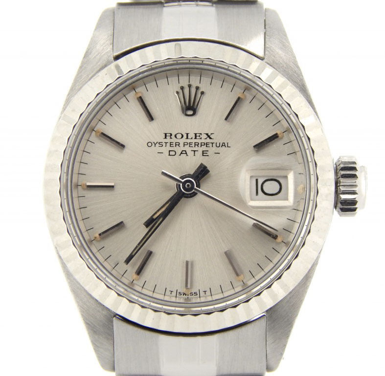 "Image of ""Rolex Date 6916 Stainless Steel With Jubilee White Gold Bezel Silver"""