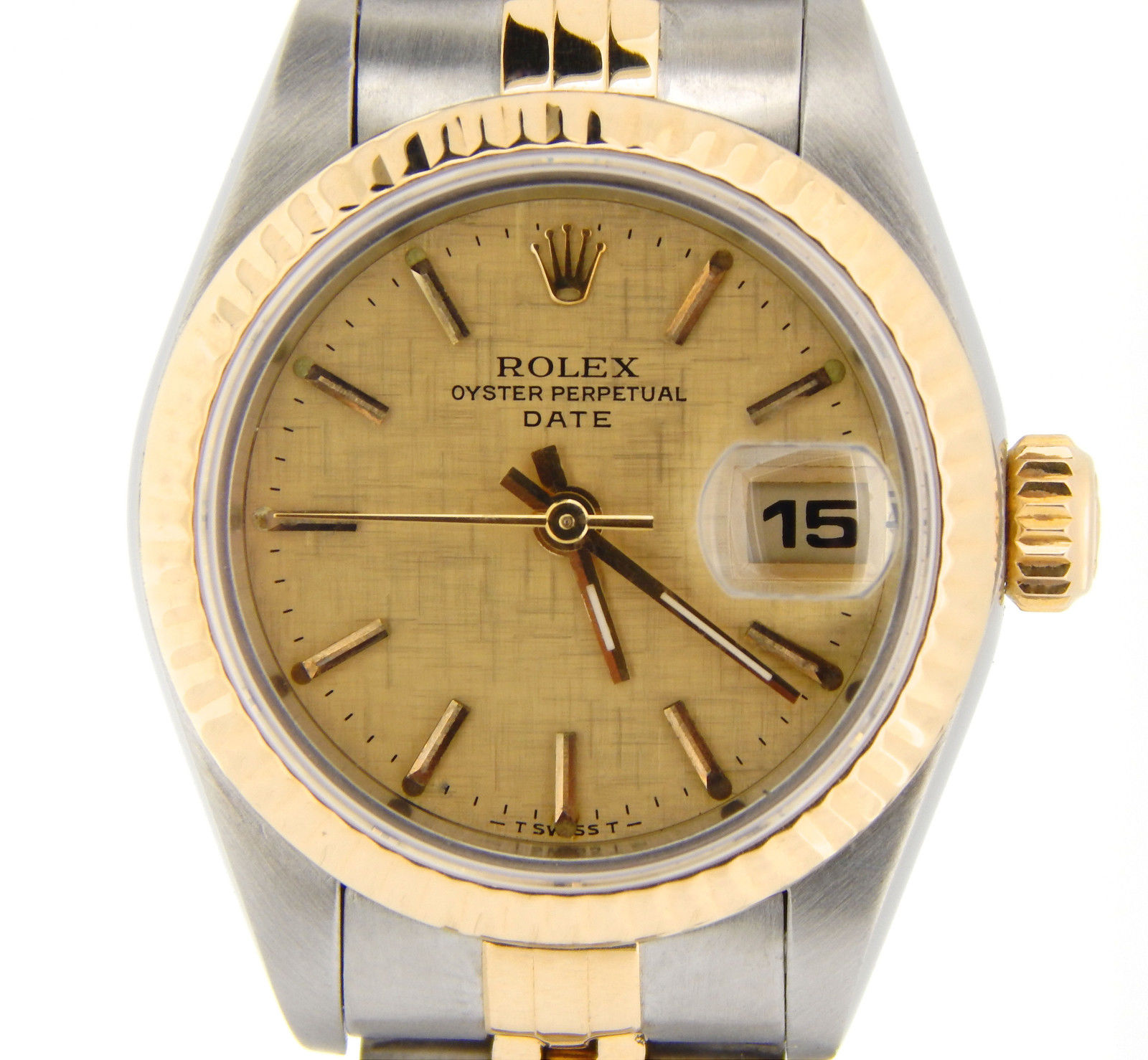 "Image of ""Rolex Date 69173 Two-Tone 18K Gold & Steel Watch Jubilee Band Linen"""