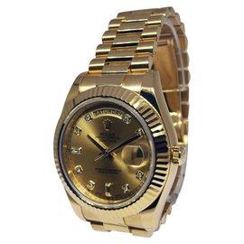 Rolex Day-Date II 218238 18K Yellow Gold Diamond Dial Mens Watch