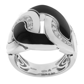 Salvini 18K White Gold Diamonds Black Ceramic Cocktail Ring Size 7.75