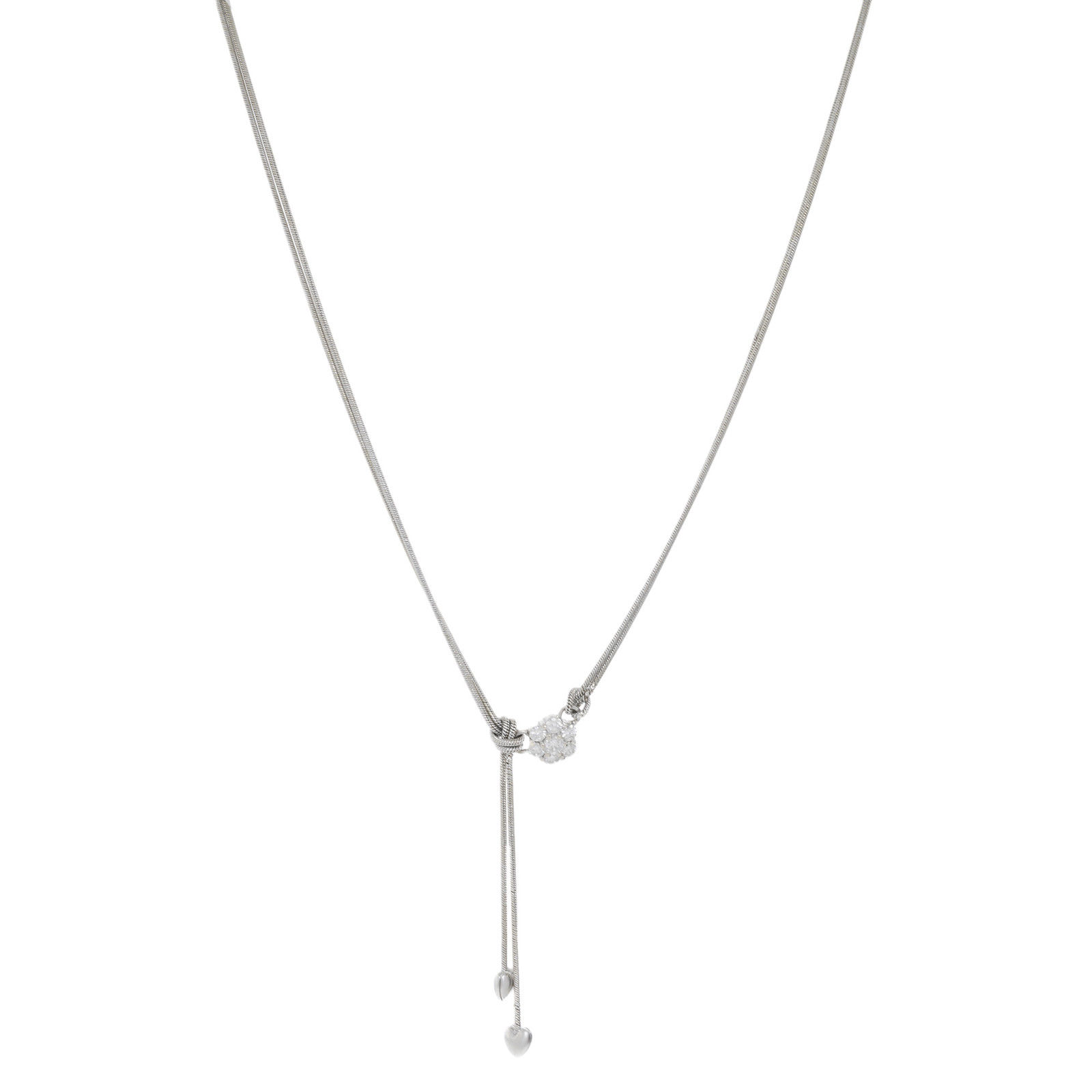 "Image of ""Jose Hess 18K White Gold Diamond Double Hearts Necklace"""