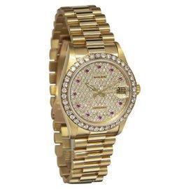 Rolex Datejust 68278 President 18K Yellow Gold Diamond & Ruby Womens Watch 31mm