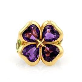 18K Yellow Gold Amethyst & Peridot Floral Ring