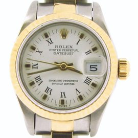 Rolex Datejust 69173 Two Tone 18K & Stainless Steel With White Roman Dial Womens Watch