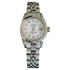 Rolex Datejust 6916 Stainless Steel With White Mother Of Pearl Diamond Dial Vintage Womens Watch