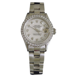 Rolex Datejust 6917 Stainless Steel White Mother Of Pearl Diamond Dial & Bezel Womens Watch