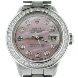 Rolex Datejust 6917 Stainless Steel With Pink Mother Of Pearl Diamond Dial Womens Watch