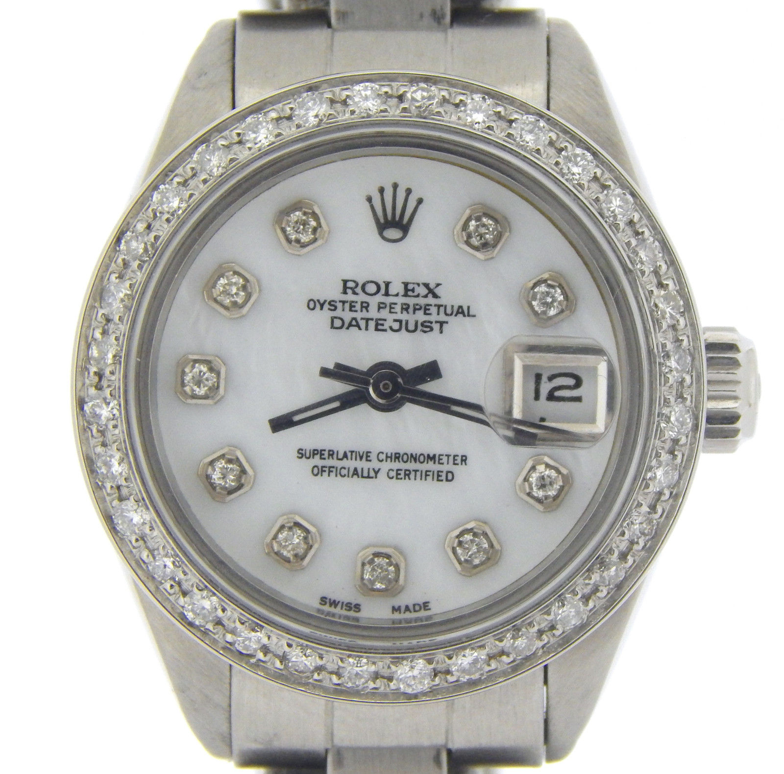 """Image of """"Rolex Datejust 6917 Stainless Steel With White Mother Of Pearl Diamond"""""""