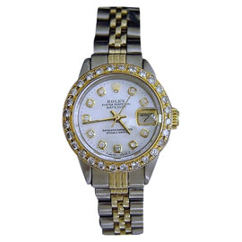 Rolex Datejust 14K Yellow Gold & Stainless Steel With White Mother Of Pearl Diamond Dial Womens Watch