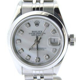 Rolex Datejust Stainless Steel With White Mother Of Pearl Diamond Dial Womens Watch