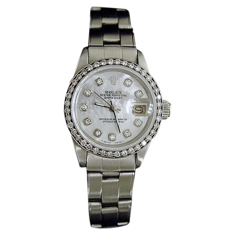 """Image of """"Rolex Datejust 6916 Stainless Steel White Mother Of Pearl Diamond Dial"""""""
