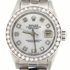 Rolex Datejust 69174 Stainless Steel With Oyster Quickset White Mother Of Pearl Diamond Womens Watch