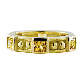 Judith Ripka 18K Yellow Gold Bezel Set Princess Cut 1.50 Ct Citrine Size 6 Ring