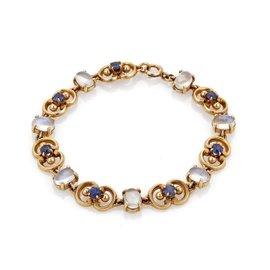 14k Yellow Gold Moonstone & Sapphire Vintage Link Bracelet
