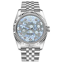 Rolex Datejust Glossy Ice Blue Flower Dial with Diamond Accent Unisex 36mm Watch