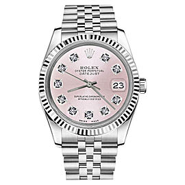 Rolex Datejust Metallic Pink Diamond Dial Unisex 36mm Watch