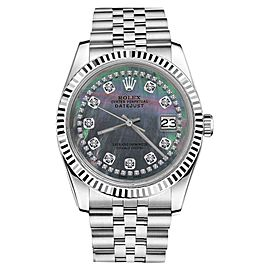 Rolex Datejust Black Mother of Pearl String Diamond Accent Unisex 36mm Watch