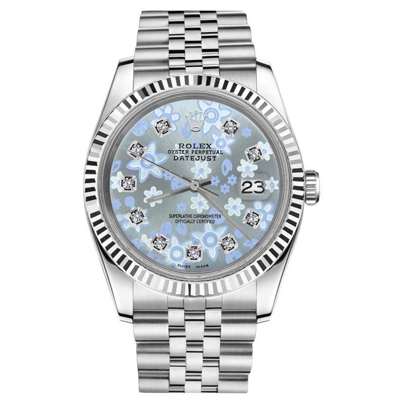"Image of ""Rolex Datejust Stainless Steel With Glossy Ice Blue Flower Dial"""