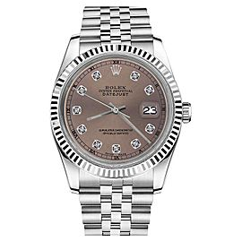 Rolex Datejust Stainless Steel With Salmon Color Dial And Diamond Accent 36mm Unisex Watch