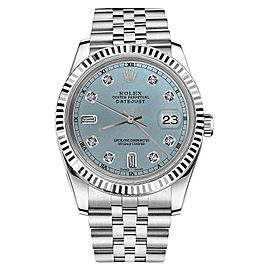Rolex Datejust Stainless Steel With Ice Blue Color Dial with 8+2 Diamond 36mm Unisex Watch