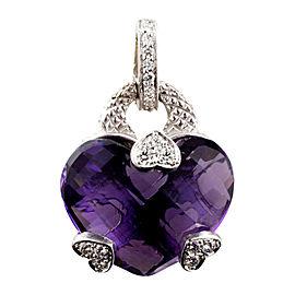 Judith Ripka 18K White Gold Amethyst & Diamond Heart Pendant