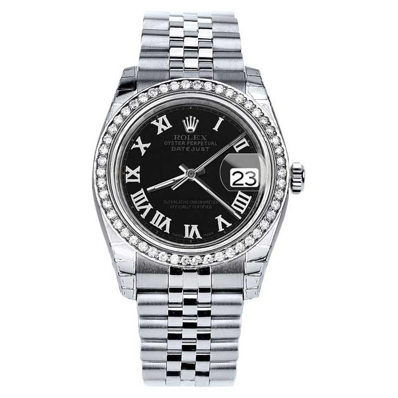 "Image of ""Rolex Datejust Jubilee Stainless Steel Black Roman Dial Diamond 2016"""