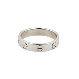 Cartier Mini Love Platinum 3.5mm Wide Band Ring Size 4.75