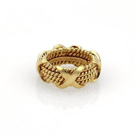 Tiffany & Co. Schlumberger 18k Yellow Gold X Design 4 Rows Band Ring Size 4