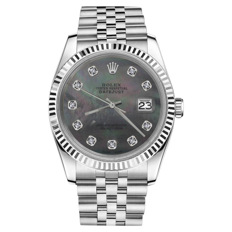 "Image of ""Rolex Datejust Diamond Stainless Steel Jubilee Black Mother Of Pearl"""
