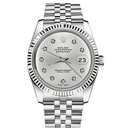 Rolex Datejust 18K White Gold & Stainless Steel Silver 10 Round Diamonds Jubilee 26mm Womens Watch