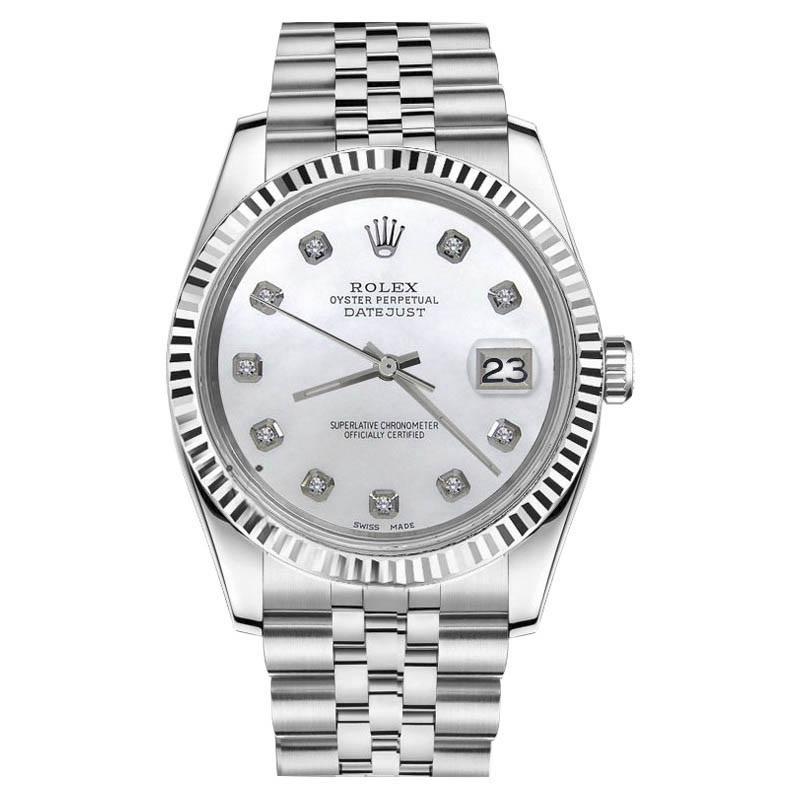 """Image of """"Rolex Datejust White Mother of Pearl Diamond 18K/Stainless Steel"""""""