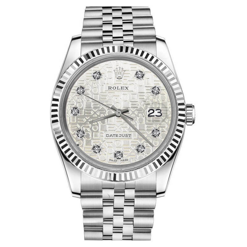 """Image of """"Rolex Datejust Silver Dial Diamond Stainless Steel Jubilee Plate 26mm"""""""