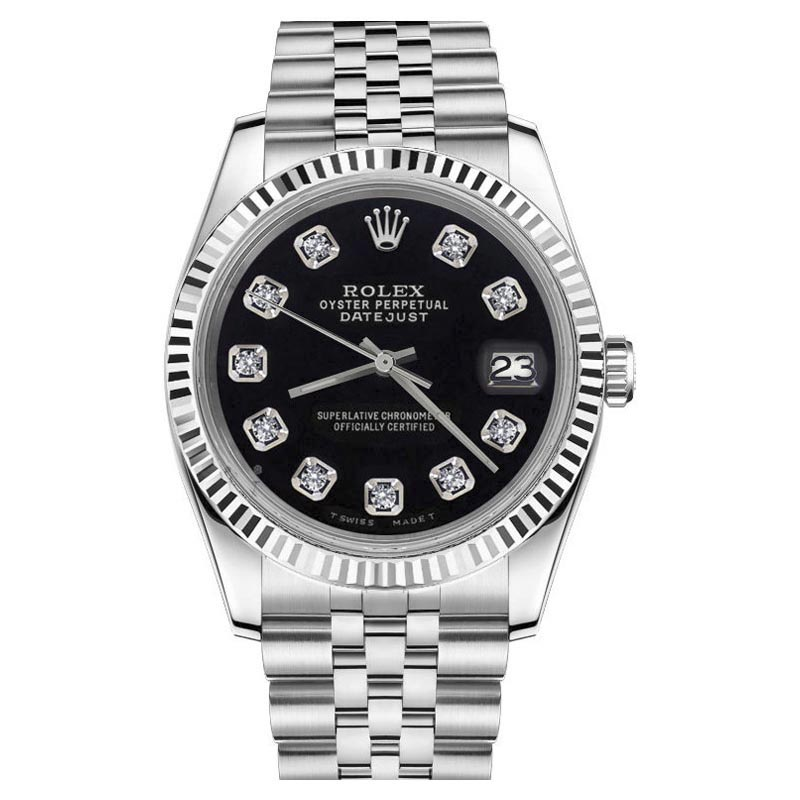 """Image of """"Rolex Datejust Black Dial Diamond Numbers Stainless Steel Classic"""""""