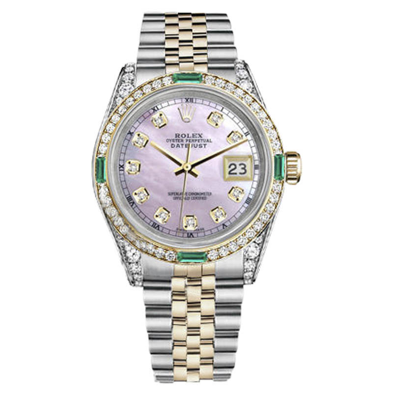 "Image of ""Rolex Datejust Stainless Steel & 18K Yellow Gold With Emerald Diamond"""